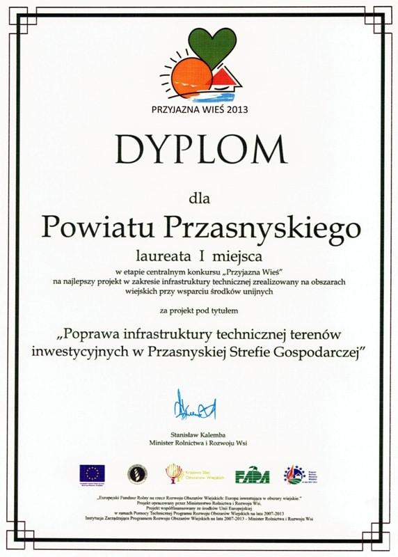 Dyplom da Powiatu Przasnyskiego za zajęcie I miejsca w Polsce