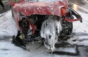Pożar samochodu osobowego w Bogatem - foto